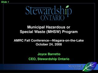 Joyce Barretto CEO, Stewardship Ontario
