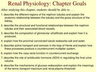 Renal Physiology: Chapter Goals
