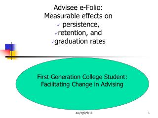 Advisee e-Folio:  Measurable effects on  persistence,  retention, and  graduation rates
