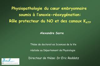 Physiopathologie du c�ur embryonnaire  soumis � l�anoxie-r�oxyg�nation: