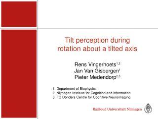 Tilt perception during  rotation about a tilted axis Rens Vingerhoets 1,2 Jan Van Gisbergen 1