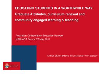 Australian Collaborative Education Network NSW/ACT Forum 2 nd  May 2011