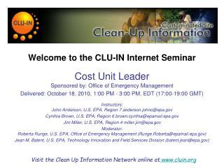 Welcome to the CLU-IN Internet Seminar