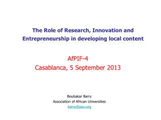 The Role of Research, Innovation and Entrepreneurship in developing local content