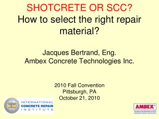 Typical Shotcrete or SCC repairs for transportation structures