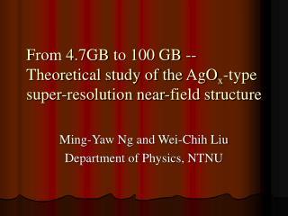 Ming-Yaw Ng and Wei-Chih Liu Department of Physics, NTNU