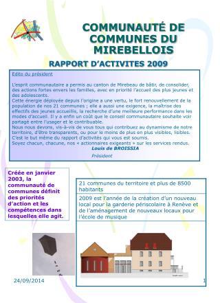 COMMUNAUT É  DE COMMUNES DU MIREBELLOIS