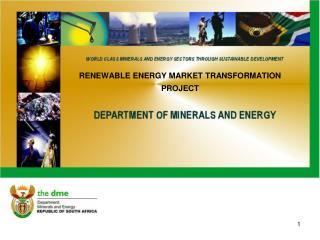 RENEWABLE ENERGY MARKET TRANSFORMATION PROJECT