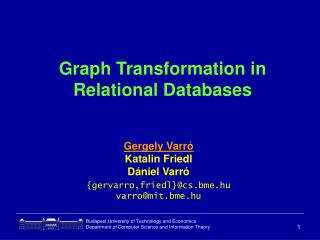 Graph Transformation in Relational Databases