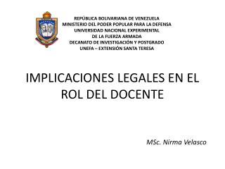 IMPLICACIONES LEGALES EN EL ROL DEL DOCENTE