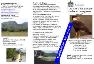 """Seminario """" Las aves y  los paisajes rurales en las regiones secas"""""""