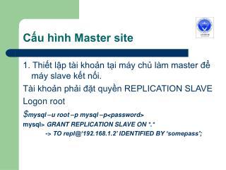 Cấu hình Master site