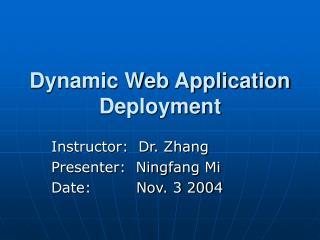 Dynamic Web Application Deployment