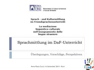 Sprachmittlung im  DaF -Unterricht