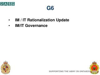IM / IT Rationalization Update IM/IT Governance