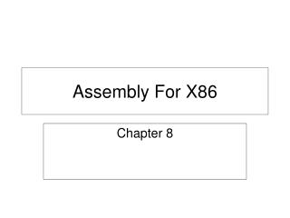 Assembly For X86