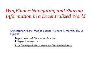 WayFinder:Navigating and Sharing Information in a Decentralized World
