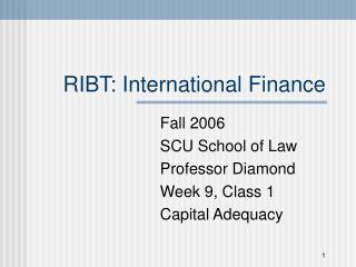 RIBT: International Finance