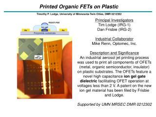Printed Organic FETs on Plastic