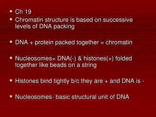 Ch 19 Chromatin structure is based on successive levels of DNA packing  DNA  protein packed together  chromatin   Nucleo