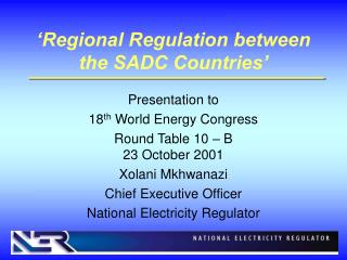 'Regional Regulation between the SADC Countries'