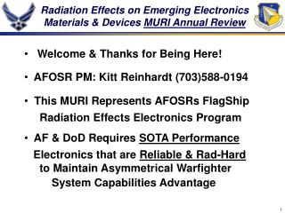 Radiation Effects on Emerging Electronics Materials & Devices  MURI Annual Review