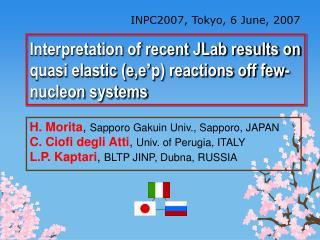 INPC2007, Tokyo, 6 June, 2007