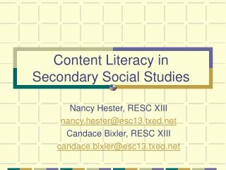 Content Literacy in Secondary Social Studies