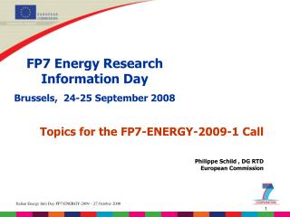 FP7 Energy Research Information Day Brussels,  24-25 September 2008