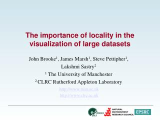 The importance of locality in the visualization of large datasets