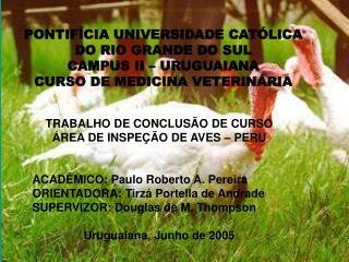 TRABALHO DE CONCLUSÃO DE CURSO ÁREA DE INSPEÇÃO DE AVES – PERU ACADÊMICO: Paulo Roberto A. Pereira