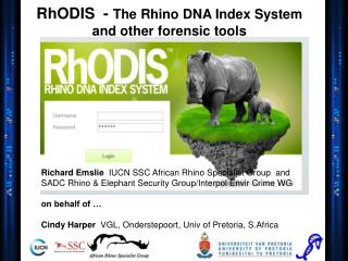 RhODIS  -  The Rhino DNA Index System and other forensic tools
