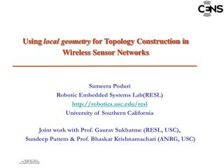Using  local geometry  for Topology Construction in  Wireless Sensor Networks