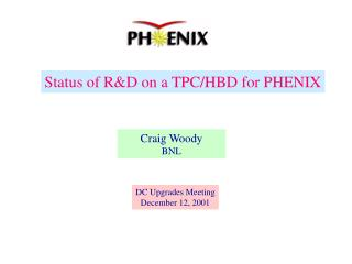 Status of R&D on a TPC/HBD for PHENIX