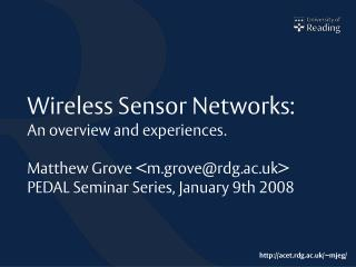 Wireless Sensor Networks: