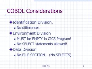 COBOL Considerations