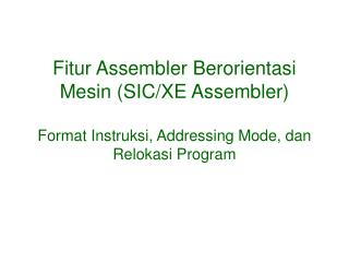 Program Assembly SIC/XE
