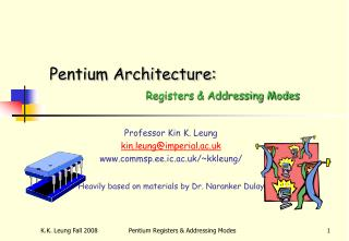 Pentium Architecture: Registers & Addressing Modes