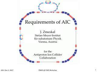 Requirements of AIC J. Zmeskal Stefan-Meyer-Institut  für subatomare Physik Vienna, Austria