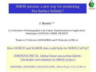 SMOS mission: a new way for monitoring  Sea Surface Salinity?