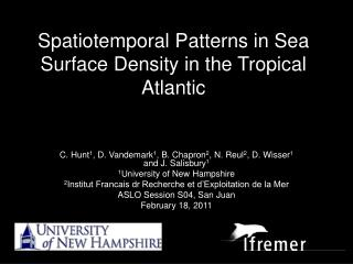 Spatiotemporal Patterns in Sea Surface Density in the Tropical Atlantic