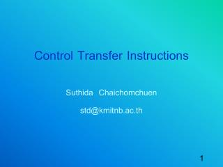 Control Transfer  Instructions