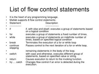 List of flow control statements