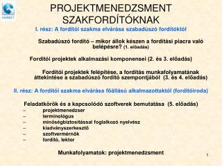 PROJEKTMENEDZSMENT SZAKFORDÍTÓKNAK