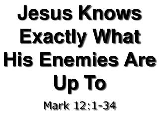Jesus Knows Exactly What His Enemies Are Up To