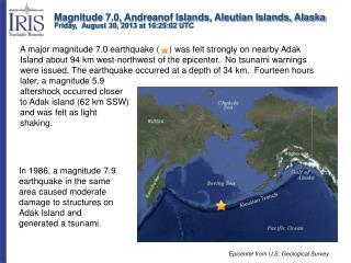 Magnitude 7.0, Andreanof Islands, Aleutian Islands, Alaska
