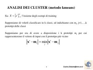 ANALISI DEI CLUSTER  (metodo kmeans)