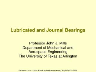 Lubricated and Journal Bearings