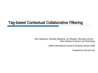 Tag-based Contextual Collaborative Filtering