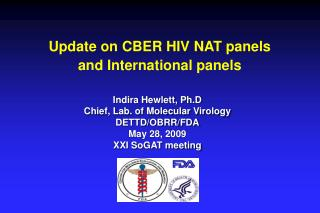 Update on CBER HIV NAT panels and International panels